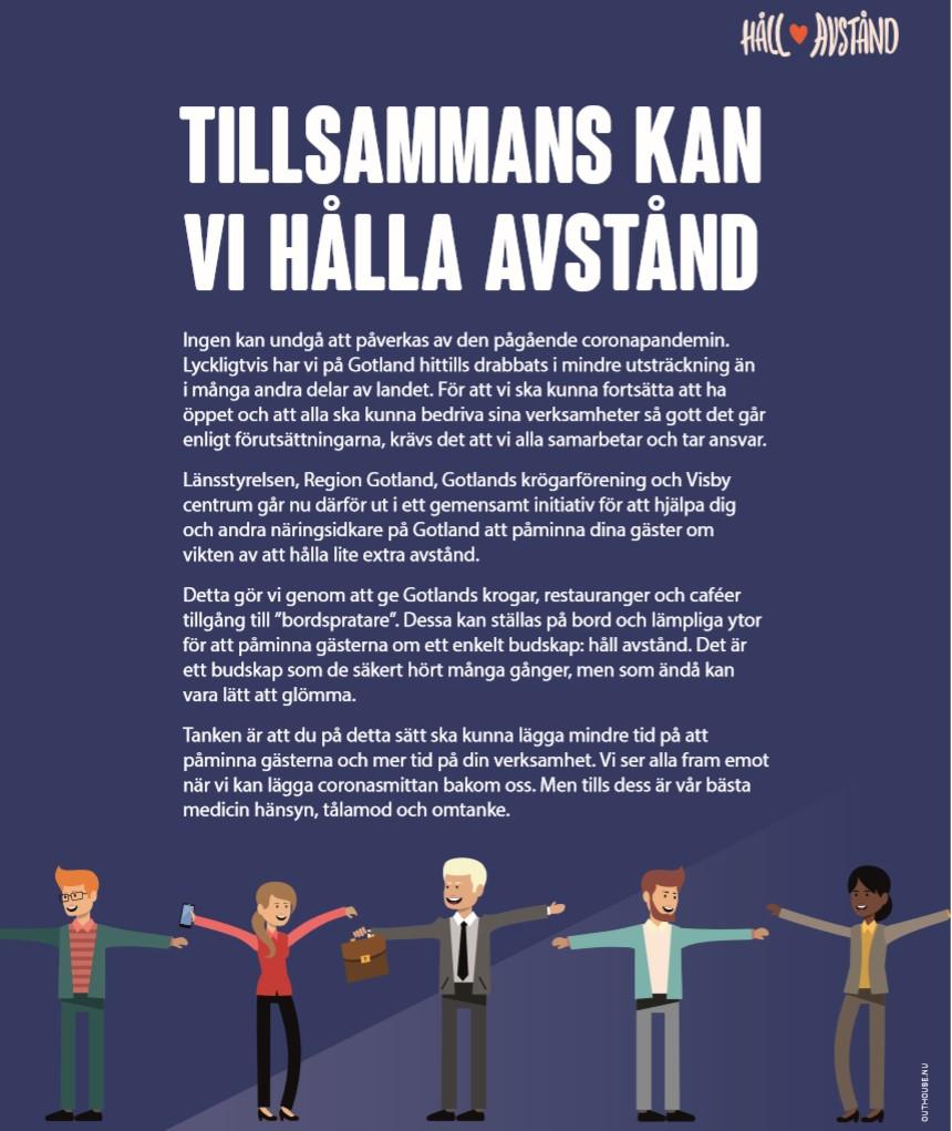 Länsstyrelsen, Region Gotland, Gotlands Krögarförening och Visby centrum: Tillsammans kan vi hålla avstånd