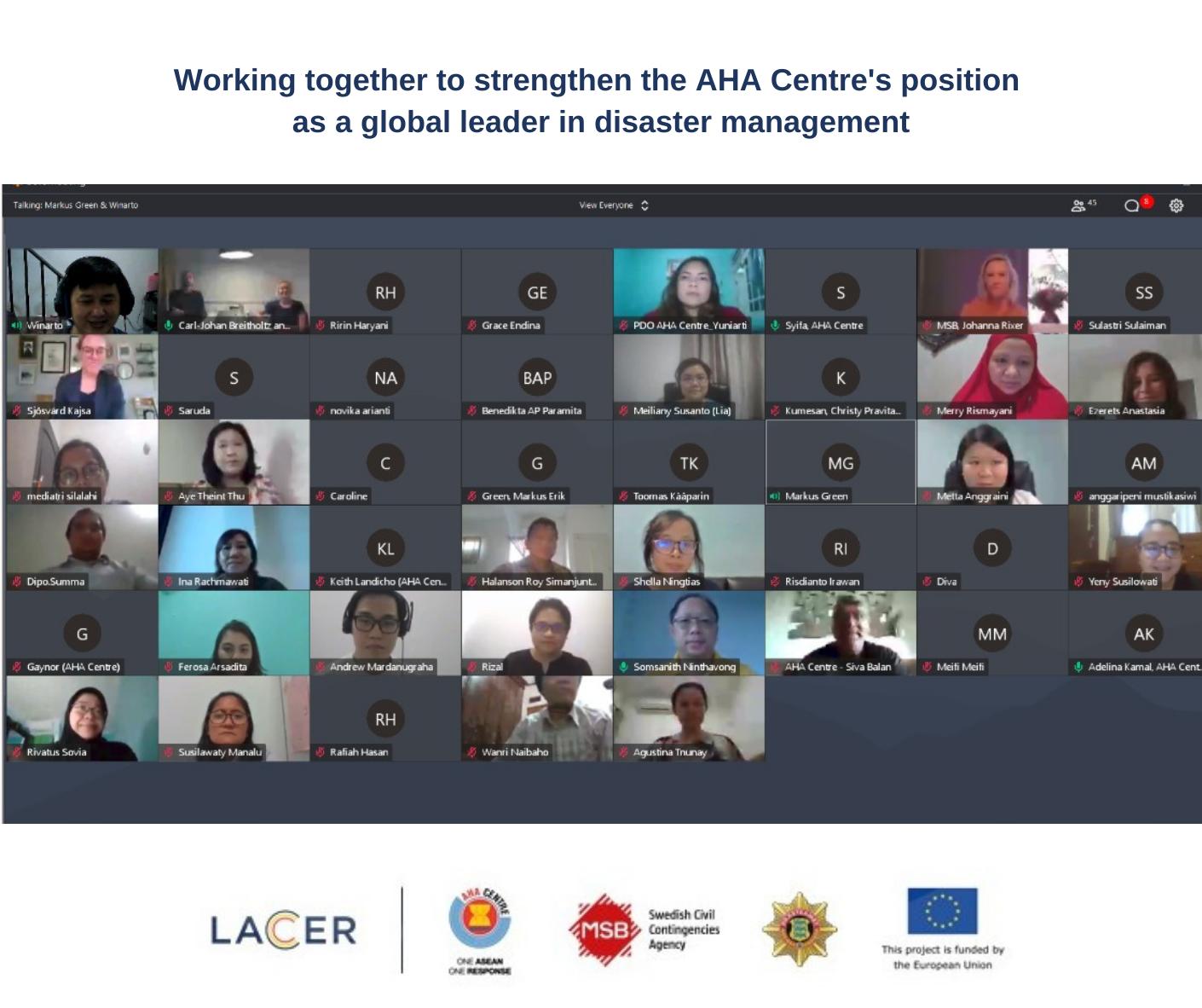 LACER: en interaktiv online workshop med anställda på AHA Centre och konsortiet.
